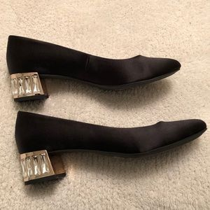 Anne Klein Black Satin shoes with Crystal heels
